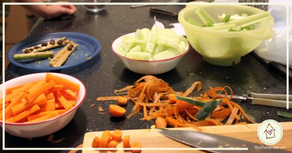 cut-up veggies from Kids Cook Real Food