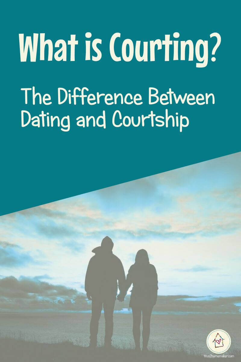 What is Courting? The Difference Between Dating and Courtship (pinnable image with silhouette of couple)