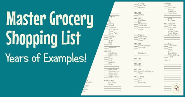 Master Grocery Shopping List: Years of Examples! (Facebook title image)