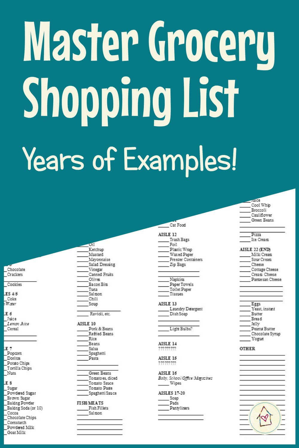 Master Grocery Shopping List: Years of Examples! (pinnable)